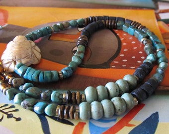 Tribal Turtle Necklace. Spirit Animal Jewelry. Turquoise and Bone Turtle Pendant Mens and Womens Necklace. Coconut Shell Heishi Necklace