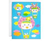 Baby hot air balloon Screenprinted card