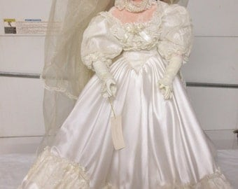 Vintage 1996 24 In Victorian Style Beautiful Blond Bride Doll, Caroline, from JC Penney-Excellent Wedding Table Decor, Wedding/Shower Gift