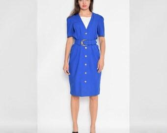Vintage 80's Blue Buttoned Midi Dress