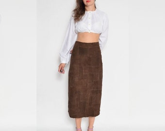 Vintage 90's Patchwork Suede Leather Brown Skirt