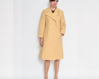 Vintage 80's Yellow Buttoned Wool Coat