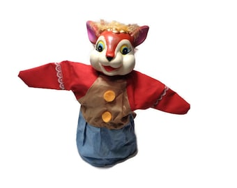 Fox Hand Puppet . Vintage Hand Puppet . Puppet Theatre Doll .