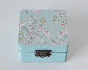 Turquoise floral decoupage box