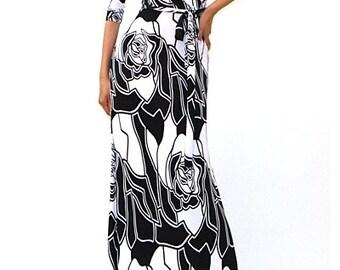Spring Maxi Dress,Floral Maxi,Floral Rose Maxi,Spring Formal Dress, White Rose Maxi,Floral Maxi Dress,Wrap Maxi,Wrap Style Maxi,Gift for Her