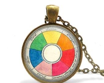 Retro artist necklace vintage French color wheel pendant art teacher gift.