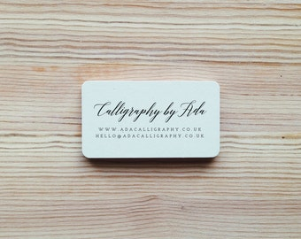 Personalised Custom Business Info Rubber Stamp with Wood Handle