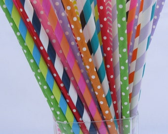 Mad Hatter Tea Party Paper Straws / Alice in Wonderland Mix / Queen of Hearts / Bright Straws Birthday Party Cake Pop Sticks 50 75 100