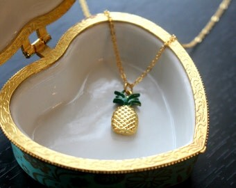 Gold pineapple necklace, pendant necklace, gift for her, pineapple necklace, colourful pineapple necklace, pineapple pendant