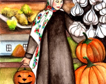 ORIGINAL watercolor painting  Keep calm and wait for Halloween, 22x15 cm (8,66/6 inch