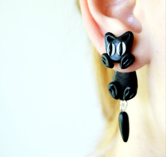Cat Hanging Plugs Stretched Ears Unusual Dangle Gauges Steel