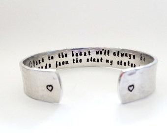 Secret Message Cuff Bracelet, Close to the heart we'll always be, Hammered Textured, Customizable Valentines Gift