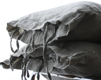 LINEN PILLOWCASE with small ties, standard, queen, king, euro sham, body pillow. Softened & stonewashed  made by MOOshop.*70