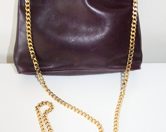 Vintage Holt Renfrew Small Purple Leather Gold Chain Purse