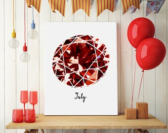Ruby birthstone July birthday gift, red gemstone wall art, cute girly wall picture, gift for July birthday.