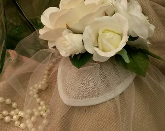 IVORY ROSE FASCINATOR with Tulle Blusher
