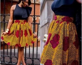 African Ankara Knee lenght High Waist Skirt; African Clothing; African fashion; African Print; African Skirt; African Clothing