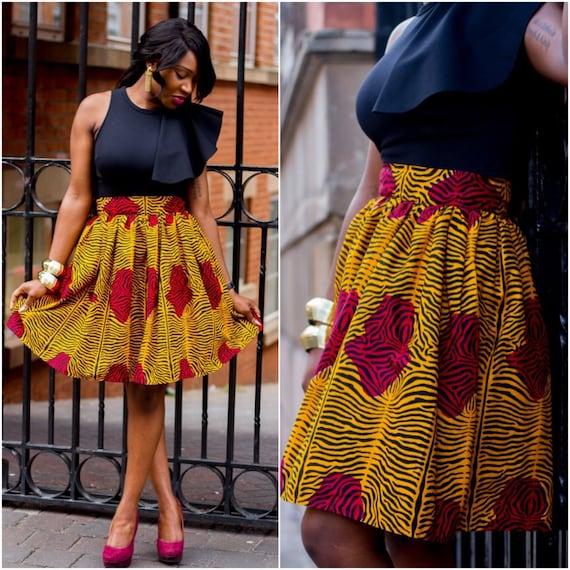 ankara knee lenght high waist skirt by laviye