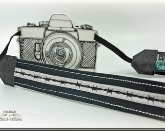 Camera strap, DSLR, barbed wire, black & gray camerastrap