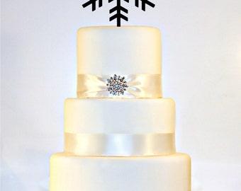 Snowflake Winter Wedding Cake Topper