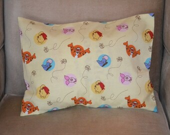 Travel Pillow Case / Child Pillow Case in Flannel WINNIE the POOH / Piglet / Tigger / Eeyore