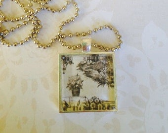 Black Toile Glass Tile Pendant Necklace