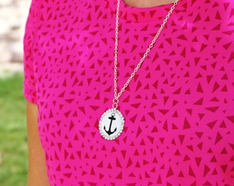Cabochon anchor necklace. Large glass cabochon, silver anchor necklace.