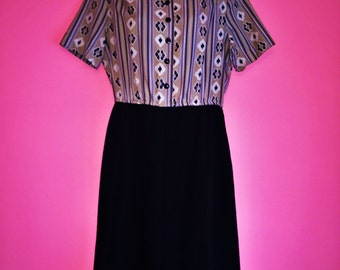 SALE 1960s/1970s Collared Tribal Print Dress by Mr. Jack Dallas, Size Medium