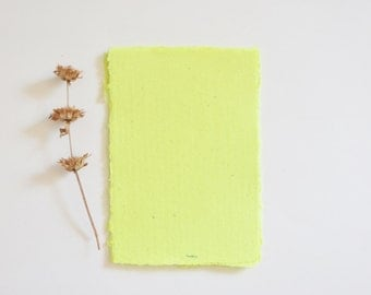 Dyed Yellow Handmade Paper / Yellow Recycled Paper - Yellow Paper Pack of 3 sheets
