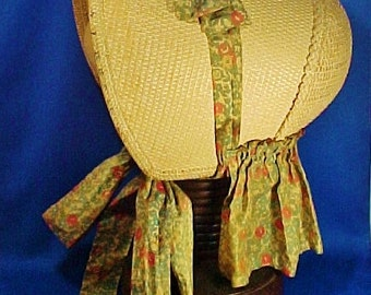 Antique Shaker Sister's Bonnet, Woven Palm Leaf or Straw, Numbered 5, With Attached Cape
