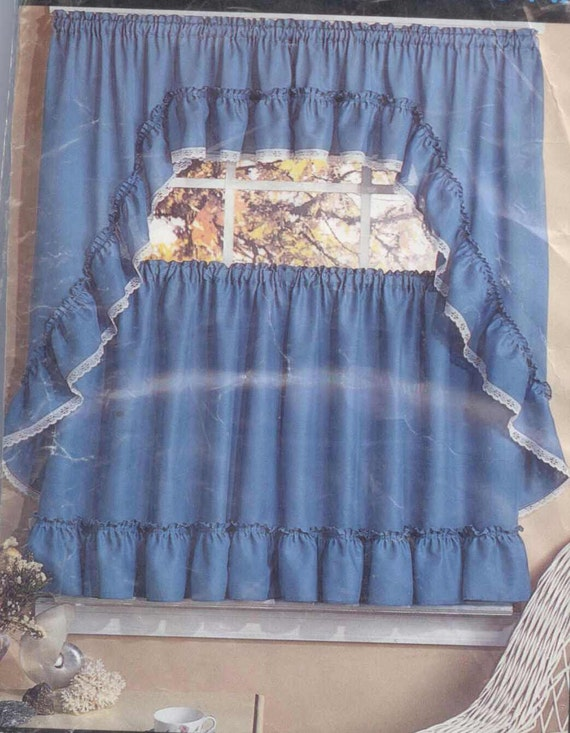 Vintage Blue Slate Kitchen Cafe Curtains Valance Ruffle Lacy