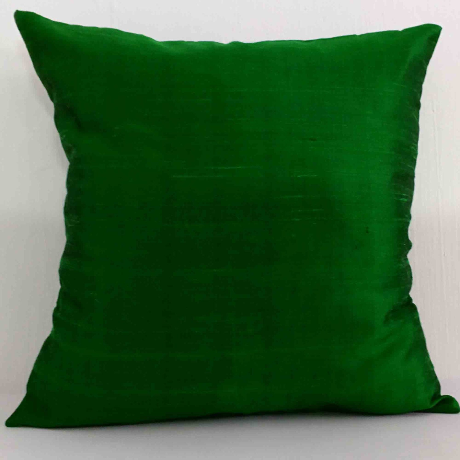 Green Silk Throw Pillow : Emerald Green Silk Pillow Cover-Emerald Green by DesiCraftShop
