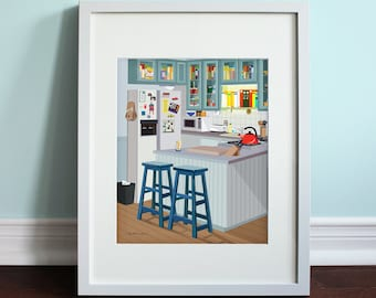 Jerry's Apartment Kitchen - Seinfeld, Jerry Seinfeld Art Print, TV Sitcom