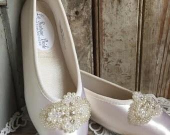 Flower Girl First Communion Embellished Ballet Flat Ivory White