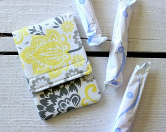 Tampon Holder, Pad/Pantiliner Case For Your Purse in Gray and Yellow Evening Blooms Riley Blake Fabric