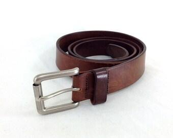 Dark Brown Leather LL Bean Belt - Large / XL
