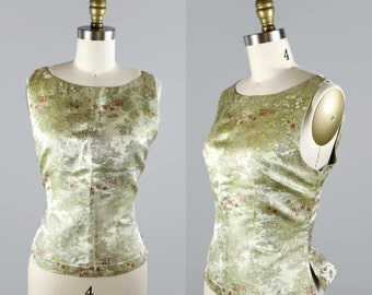 1980s Chinese Blouse / Sleeveless Pintucked Floral Brocade Cheongsam Blouse / 80s Tailored Back Zip Top by Silk Box