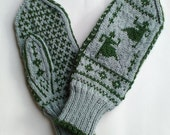 Handknitted Norwegian Wool Mittens, Dancing Grannies