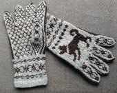 Handknitted Norwegian wool gloves,  light and dark brown