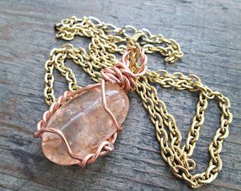 Wire Wrapped Pendant - Peach Quartz Necklace - Bohemian Jewelry - Wire Wrapped Gem - Peach Quartz Pendant - Spiritual Necklace - Boho Chic
