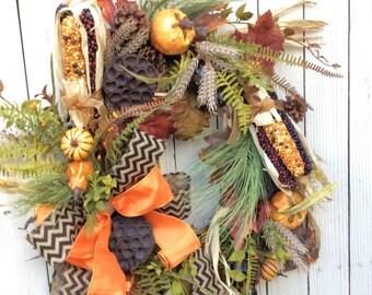 Fall Wreath with Corn,Natural Pumpkin Wreath, Fall Wreath, Autumn Wreath,Thanksgiving Wreath,Harvest Wreath,Fall Wreath with Black Chevron
