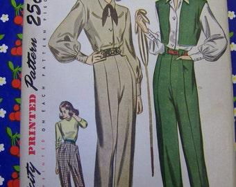 Fabulous Vintage 1940s Simplicity 1971 Slacks, BOLERO & BLOUSE pattern Sz 14 bust 32 UNCUT