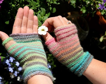 "Fingerless Mittens ""Babydoll""  handknitted from 100% Merino Wool, supersoft and warm, holiday gift for her or him"