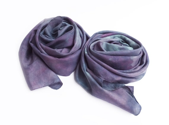 "Purple silk scarf - china silk - grey, blue-grey, purple - hand dyed - 13"" x 68"""