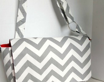 Messenger Bag, school bag for kids, diaper bag embroidered; grey chevron with red lining