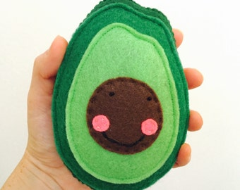 Avocado plush, felt food, vegetarian, baby toy, pin cushion, vegan food, plush fruit, plush food, vegetable plush, felt avocado, stuffed