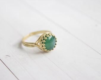 Filigree Green Agate Brass Ring