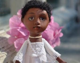 Gina, Paper Mache Art Doll,  Art Doll, Handmade Doll, OOAK Doll,  Miniature Doll, collectible doll