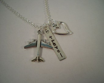 Travel/Traveler/Love to Travel, Hand Stamped Silver and Pewter Charm Necklace
