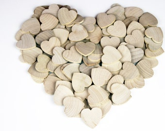 "50-100 Wood Hearts, 1 1/4"" x 1/8"" Unfinished Wood Hearts, Wedding Decorations - Rustic Weeding - DIY Wood Hearts - CSO"